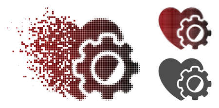 Heart gear icon in fractured, pixelated halftone and undamaged entire variants. Cells are arranged into vector disappearing heart gear shape.