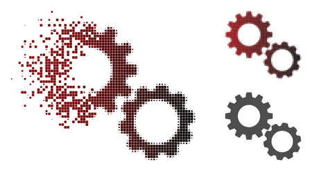 Gears icon in dispersed, pixelated halftone and undamaged whole versions. Fragments are grouped into vector dispersed gears figure.