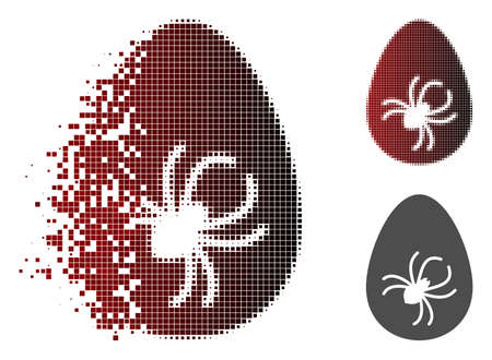 Parasite egg icon in fractured, dotted halftone and undamaged whole variants. Particles are organized into vector dissolving parasite egg icon.