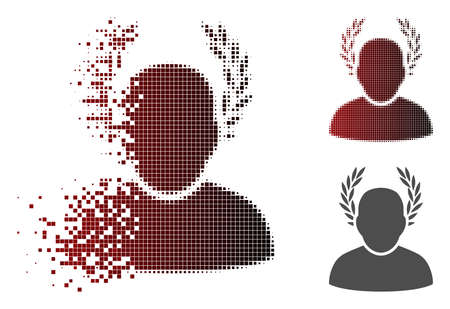 Caesar icon in fractured, dotted halftone and undamaged whole variants. Cells are organized into vector disappearing caesar icon.