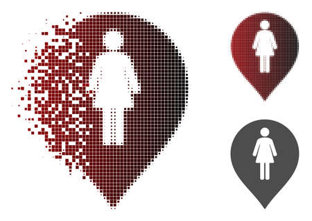 Female toilet marker icon in fractured, dotted halftone and undamaged solid variants. Pixels are organized into vector disappearing female toilet marker symbol.