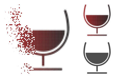 Syrup glass icon in sparkle, pixelated halftone and undamaged solid versions. Points are organized into vector disappearing syrup glass icon. Illustration