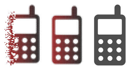 Portable radio transmitter icon in sparkle, pixelated halftone and undamaged solid versions. Particles are composed into vector disappearing portable radio transmitter icon.