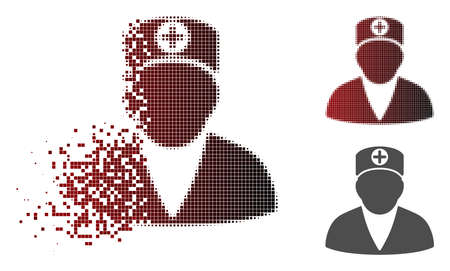 Medic person icon in dispersed, pixelated halftone and undamaged solid versions. Points are grouped into vector dispersed medic person icon.