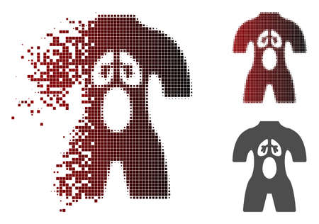 Anatomy icon in dissolved, pixelated halftone and undamaged whole versions. Fragments are composed into vector disappearing anatomy icon.
