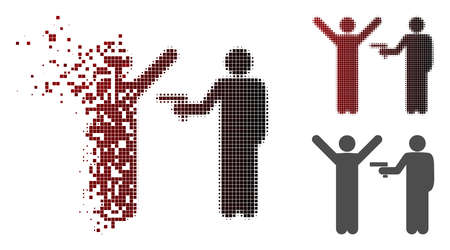 Crime robbery icon in dissolved, dotted halftone and undamaged whole versions. Elements are organized into vector dispersed crime robbery icon. Vektoros illusztráció