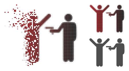 Icône de vol de crime en demi-teintes dissoutes, en pointillés et en versions entières intactes Les éléments sont organisés en icône de vol de crime dispersé de vecteur. Vecteurs