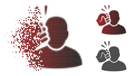 Crime violation fist strike icon in fractured, pixelated halftone and undamaged entire versions. Particles are composed into vector dispersed crime violation fist strike icon.