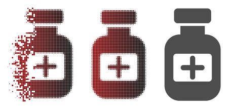 Medication phial icon in fractured, pixelated halftone and undamaged entire variants. Pieces are organized into vector sparkle medication phial icon. Illustration