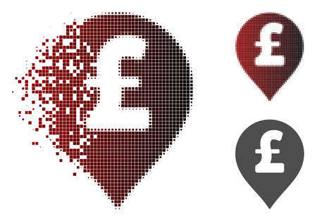 Pound Sterling marker icon in dispersed, pixelated halftone and undamaged solid variants. Particles are grouped into vector dispersed Pound Sterling marker form.