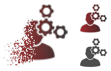 Mechanics specialist icon in dispersed, pixelated halftone and undamaged whole versions. Pixels are arranged into vector dispersed mechanics specialist icon. Ilustração