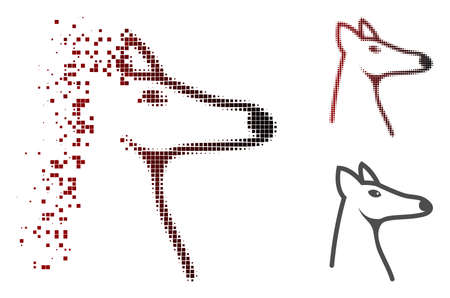 Fox head icon in dispersed, dotted halftone and undamaged solid variants. Points are organized into vector disappearing fox head icon.