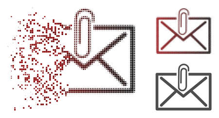 Mail attachment icon in fractured, dotted halftone and undamaged entire variants. Particles are combined into vector disappearing mail attachment pictogram.