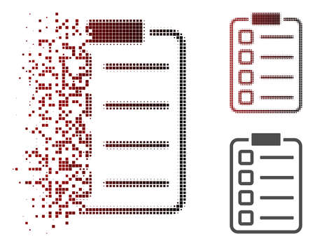 Checklist pad icon in dispersed, dotted halftone and undamaged solid variants. Elements are combined into vector dissipated checklist pad icon.