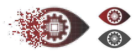 Robotics eye lens icon in dispersed, pixelated halftone and undamaged entire versions. Fragments are combined into vector dispersed robotics eye lens figure.