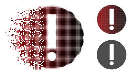 Exclamation icon in dispersed, pixelated halftone and undamaged whole versions. Points are grouped into vector dissolving exclamation icon.
