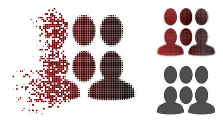 Auditory icon in dispersed, pixelated halftone and undamaged solid variants. Particles are arranged into vector dispersed auditory figure.