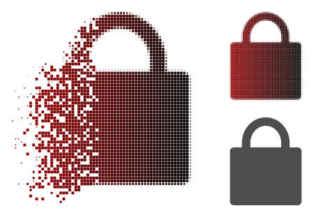 Lock icon in fractured, pixelated halftone and undamaged solid variants. Pieces are arranged into vector disappearing lock icon.