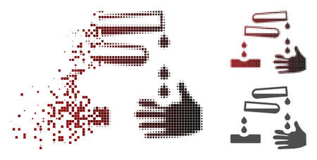 Corrosive drops icon in sparkle, dotted halftone and undamaged entire variants. Fragments are composed into vector dissipated corrosive drops icon.