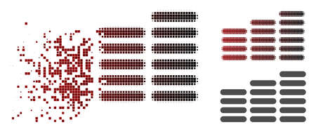 Coin columns icon in fractured, pixelated halftone and undamaged whole variants. Cells are organized into vector dissolving coin columns shape.