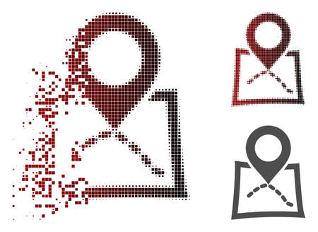 Map marker icon in dissolved, pixelated halftone and undamaged whole variants. Cells are combined into vector dissipated map marker icon.