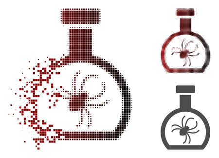 Parasite container retort icon in dissolved, dotted halftone and undamaged solid versions. Particles are arranged into vector dispersed parasite container retort figure.