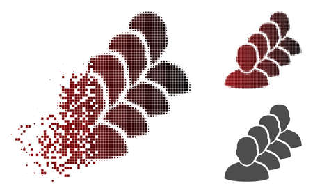 People queue icon in dispersed, dotted halftone and undamaged whole variants. Points are composed into vector dissipated people queue icon.