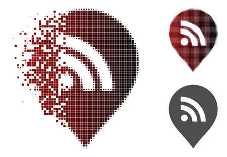 wireless marker icon in dispersed, dotted halftone and undamaged entire versions. Elements are combined into vector dispersed wireless marker figure. Illustration