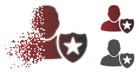 User protection shield icon in dissolved, pixelated halftone and undamaged entire versions. Particles are composed into vector disappearing user protection shield pictogram.