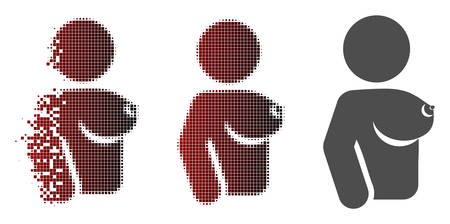 Female tit icon in dissolved, dotted halftone and undamaged entire variants. Fragments are composed into vector disappearing female tit pictogram.
