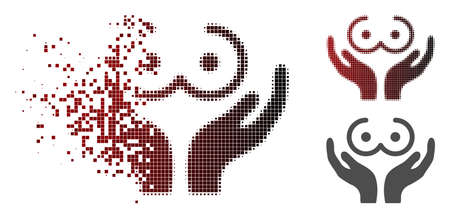 Female tits care hands icon in dissolved, pixelated halftone and undamaged solid versions. Pieces are organized into vector sparkle female tits care hands icon. Illustration