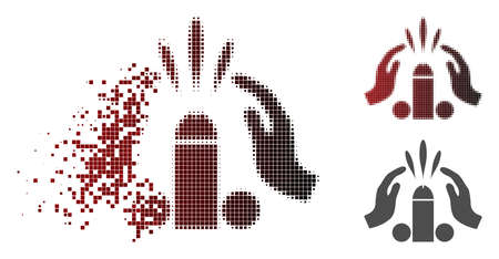 Blowjob ejaculation icon in dispersed, pixelated halftone and undamaged solid variants. Pieces are composed into vector disappearing blowjob ejaculation icon.