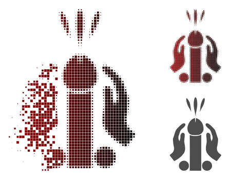 Blowjob ejaculation icon in dissolved, pixelated halftone and undamaged solid variants. Fragments are grouped into vector sparkle blowjob ejaculation form. Illustration