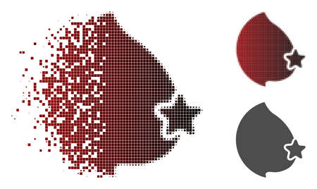 Censored female breast icon in dissolved, dotted halftone and undamaged whole versions. Points are grouped into vector dissolving censored female breast icon. Иллюстрация