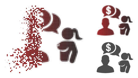 Commercial adult chat icon in fractured, pixelated halftone and undamaged solid variants. Particles are organized into vector disappearing commercial adult chat symbol.