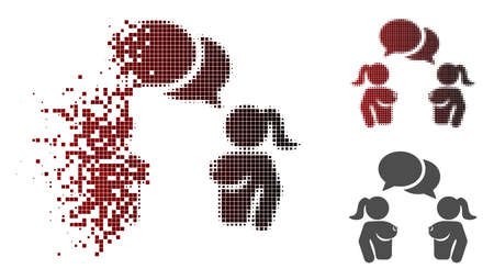 Naked lady chat icon in dispersed, pixelated halftone and undamaged entire variants. Pieces are organized into vector dissipated naked lady chat icon.