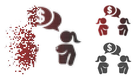 Naked lady commercial chat icon in dispersed, pixelated halftone and undamaged solid versions. Particles are arranged into vector sparkle naked lady commercial chat icon.