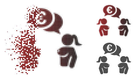 Naked lady Euro chat icon in sparkle, dotted halftone and undamaged whole variants. Points are arranged into vector sparkle naked lady Euro chat figure.