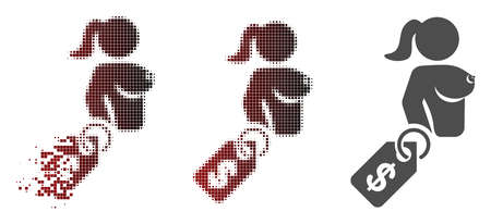 Naked lady price tag icon in sparkle, dotted halftone and undamaged entire variants. Cells are composed into vector disappearing naked lady price tag figure.