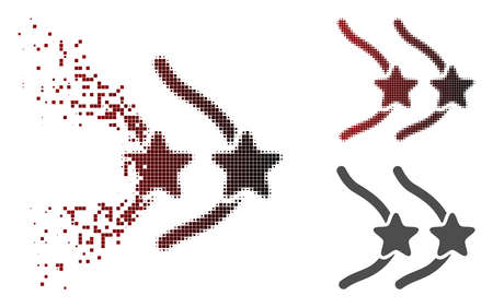 Female breast censorship stars icon in dissolved, dotted halftone and undamaged whole versions. Pieces are composed into vector disappearing female breast censorship stars icon.
