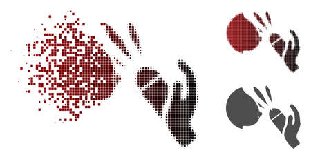 Female breast blowjob ejaculation icon in dissolved, pixelated halftone and undamaged solid versions. Particles are composed into vector disappearing female breast blowjob ejaculation icon. Illustration