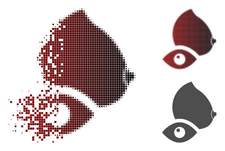 View female breast icon in fractured, dotted halftone and undamaged solid versions. Pixels are organized into vector dissipated view female breast figure. Иллюстрация
