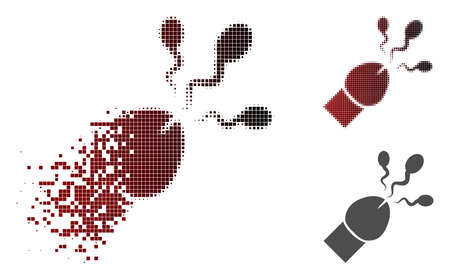 Sperm ejaculation icon in sparkle, dotted halftone and undamaged entire versions. Points are organized into vector disappearing sperm ejaculation shape.