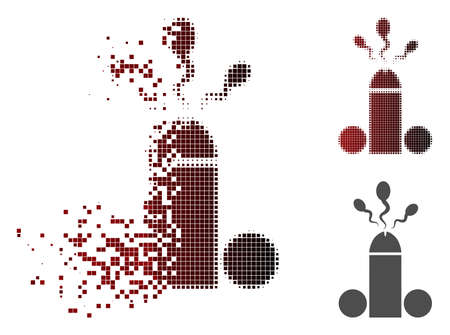 Sperm ejaculation icon in fractured, dotted halftone and undamaged solid versions. Particles are combined into vector dissolving sperm ejaculation icon.
