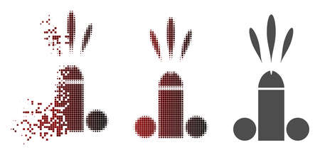 Sperm ejaculation icon in sparkle, pixelated halftone and undamaged entire variants. Cells are arranged into vector dispersed sperm ejaculation pictogram.