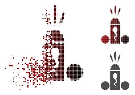 Sperm ejaculation icon in dissolved, dotted halftone and undamaged whole variants. Fragments are organized into vector dispersed sperm ejaculation icon. 일러스트