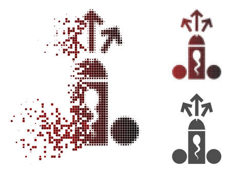 Sperm ejaculation icon in dispersed, pixelated halftone and undamaged solid variants. Pixels are organized into vector sparkle sperm ejaculation icon.