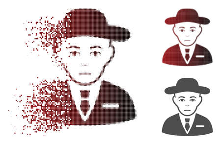 Secret service agent icon with face in dissolved, dotted halftone and undamaged solid variants. Points are composed into vector dissipated secret service agent icon.