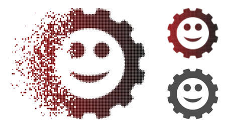 Gear smile smiley icon in dispersed, dotted halftone and undamaged solid versions. Fragments are organized into vector sparkle gear smile smiley icon.