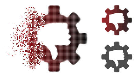 Gear thumb down icon in fractured, dotted halftone and undamaged entire variants. Points are organized into vector dispersed gear thumb down figure.